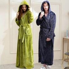 Женский длинный теплый фланелевый Халат большого размера, зимний банный халат, халат для подружки невесты с капюшоном, сексуальный халат для невесты, Мужская одежда для сна