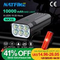 NATFIRE 10000 mAh bisiklet ışık yağmur geçirmez USB şarj edilebilir LED lamba bisiklet ışığı süper parlak el feneri bisiklet ön/arka işık