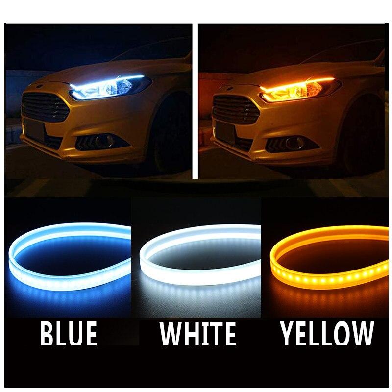Car DRL Headlight Daytime Flexible Turn Signal Running Light For Skoda Fabia 1 2 Octavia a7 RS Superb Rapid Yeti Karoq Vision