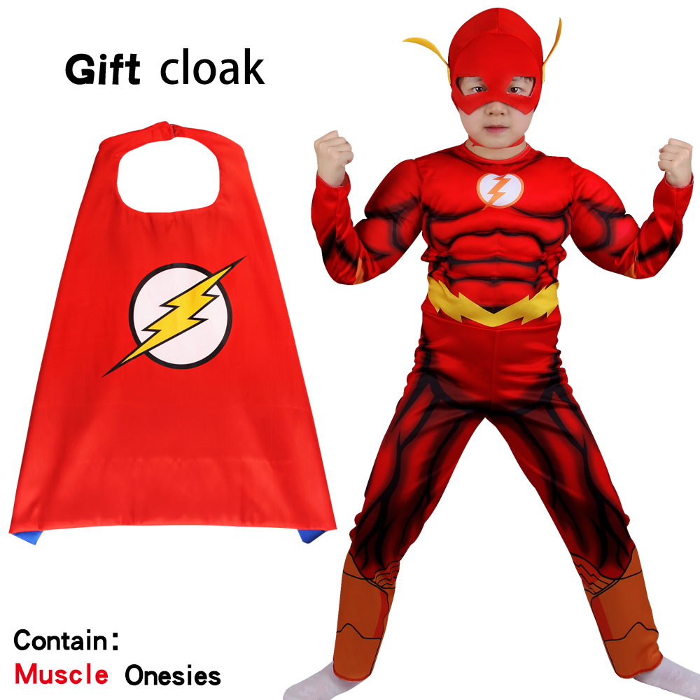 Halloween Kids Clothes Flash Cosplay Costume Superhero Barry Allen Zentai Bodysuit Children's Set Jumpsuit