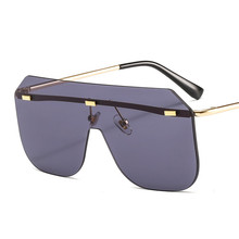 Oversized Half Frame Men Sunglasses Women New Fashion One Pi