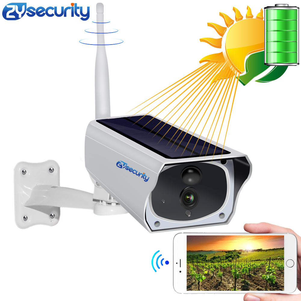 HD 1080P Solar WiFi IR Bulllet Security IP Camera Outdoor Sony IR Night Vision Audio PIR Alarm CCTV Battery Camera with SD Card