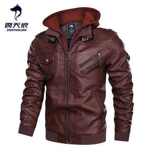Image 2 - Blouson en similicuir PU chaud à capuche homme, coupe vent, pour moto, automne hiver offre spéciale, vêtements pour hommes
