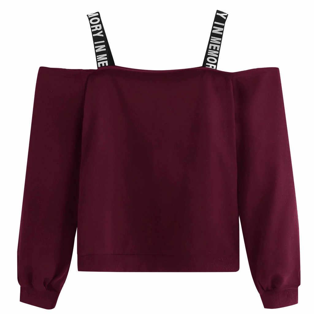 オフショルダースウェットファッション女性長袖スウェットシャツレタープリントプルオーバートップブラウス黒パーカー bluza dresowa damska