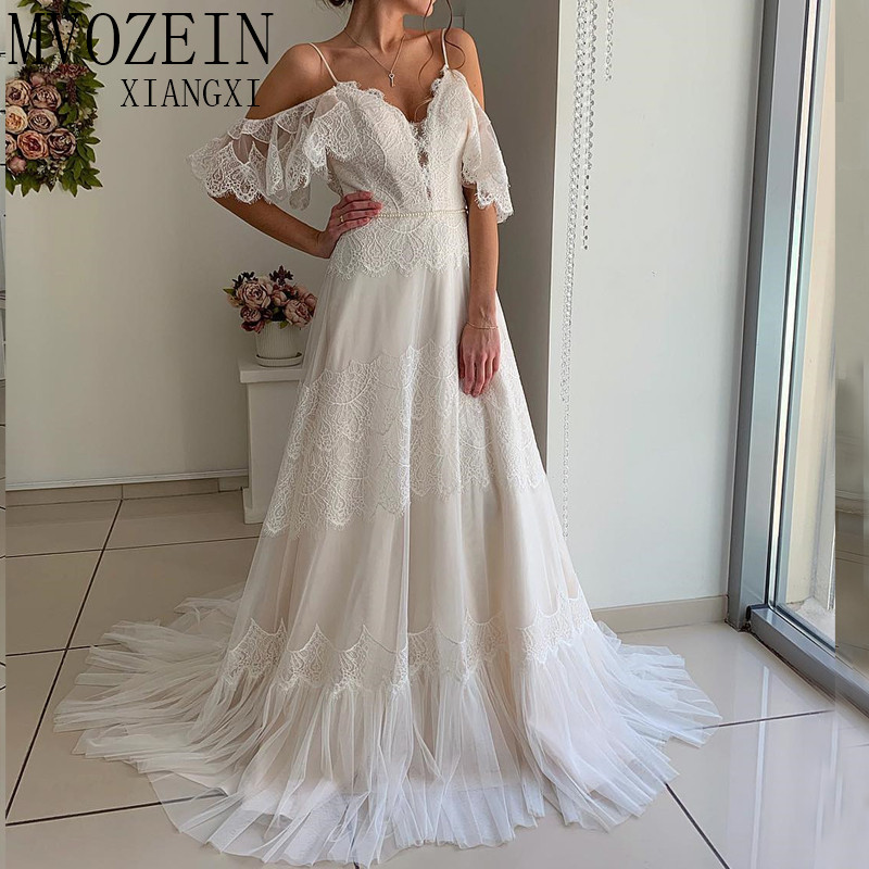 Ivory Wedding Dresses 2019 Bridal Dress Lace A-Line Off The Shoulder Court Train Wedding Dress Robe De Mariage