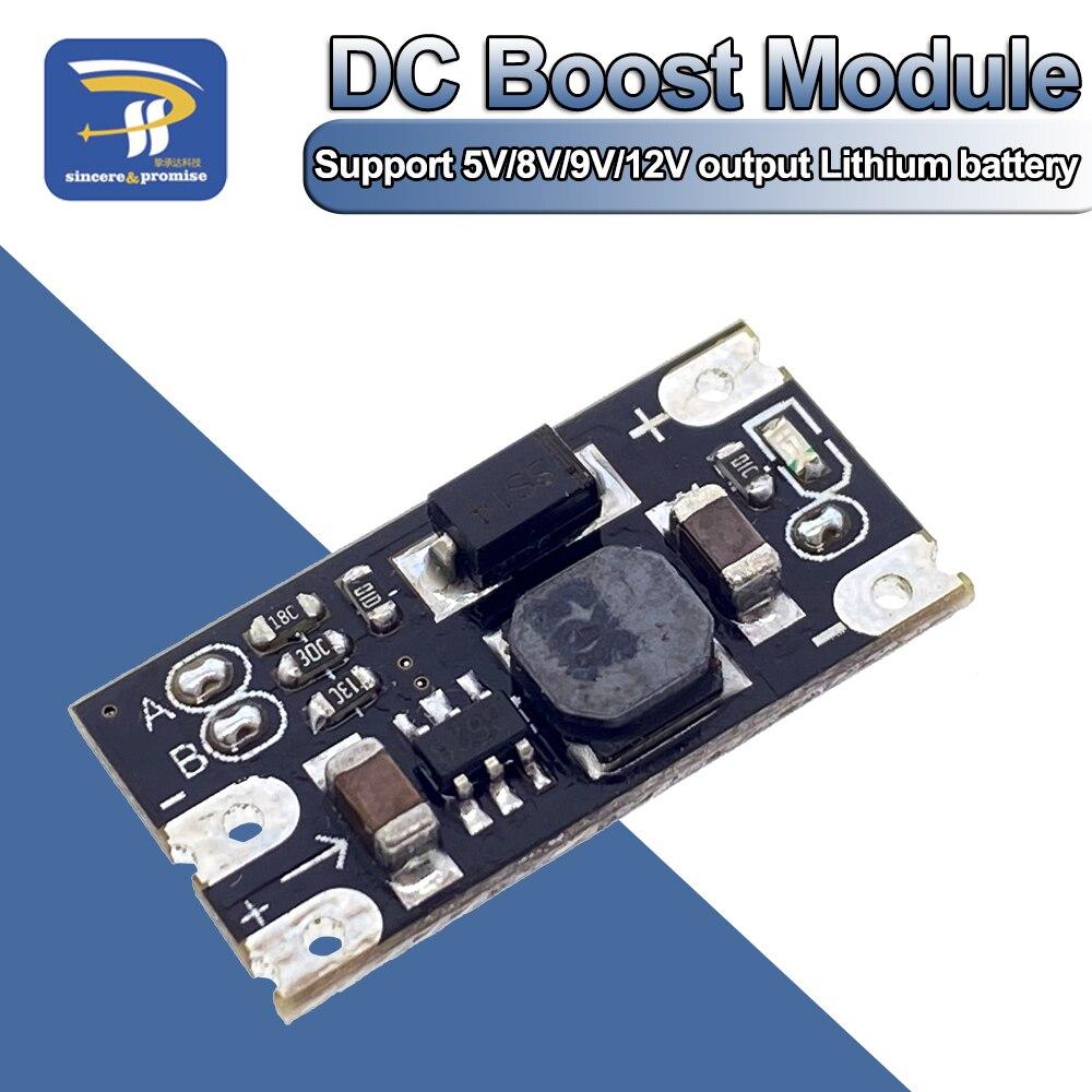 Многофункциональный мини-Модуль повышения напряжения, 1,5 А, 5 В, 8 в, 9 В, 12 В, светодиодный индикатор, Diy модуль напряжения, 3,7 В, литиевый аккуму...