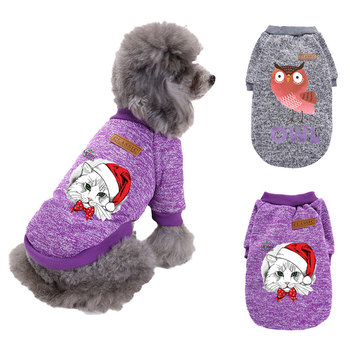 Autumn Winter Dog Clothes For Small Dogs Printed Sweater Thicken Cotton Pullover Costume Puppy Clothing Warm Cotton Sweatershirt image