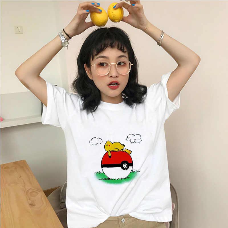 Showtly kadın Pokemon T Shirt Harajuku komik Snorlax Togepi Squirtle japon T-Shirt Anime kadın üstleri estetik Pikachu bez