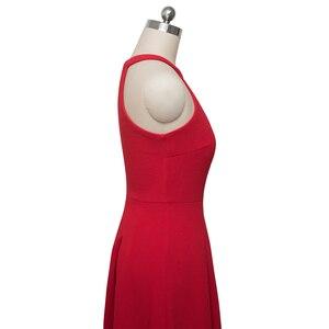 Image 5 - Женское винтажное расклешенное платье Nice forever, однотонное повседневное ТРАПЕЦИЕВИДНОЕ ПЛАТЬЕ С дырками для ключей, модель A195, 2019