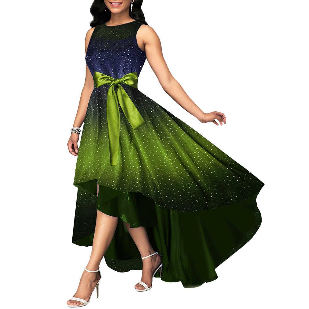 Женское вечернее платье размера плюс 5XL, 3 цвета, Joineles, асимметричное женское платье без рукавов с градиентной звездой