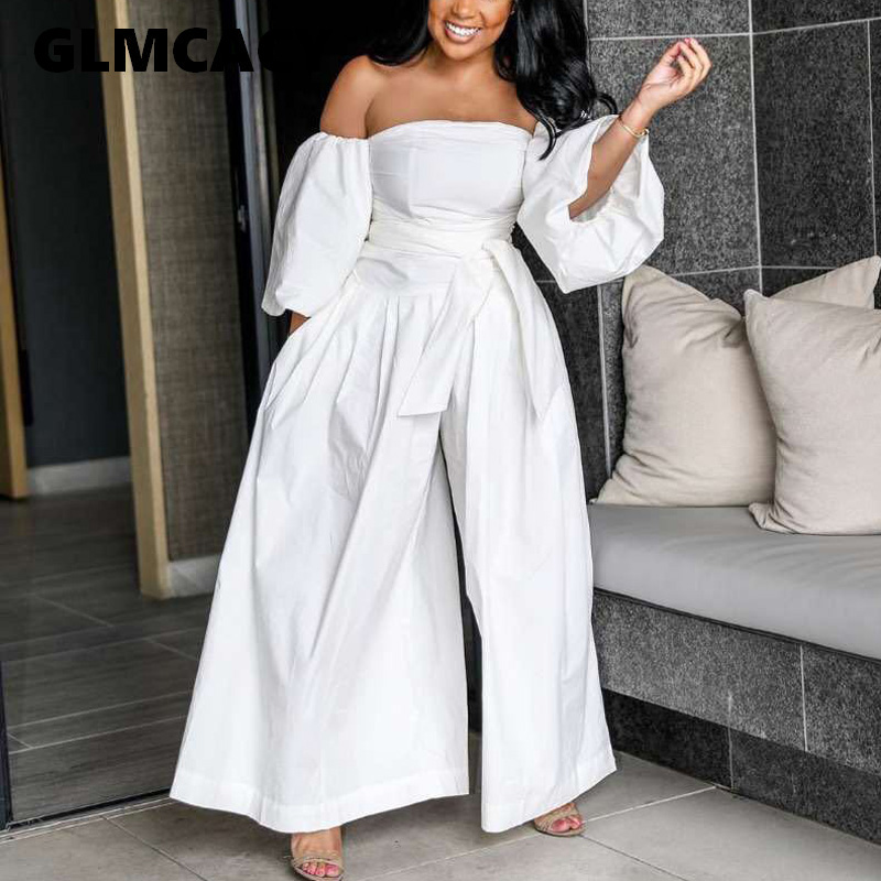 Women Sexy Off Shoulder Casual Jumpsuits Lantern Sleeve Sashes Wide Leg Overalls  Loose Fit Party Solid Jumpsuit
