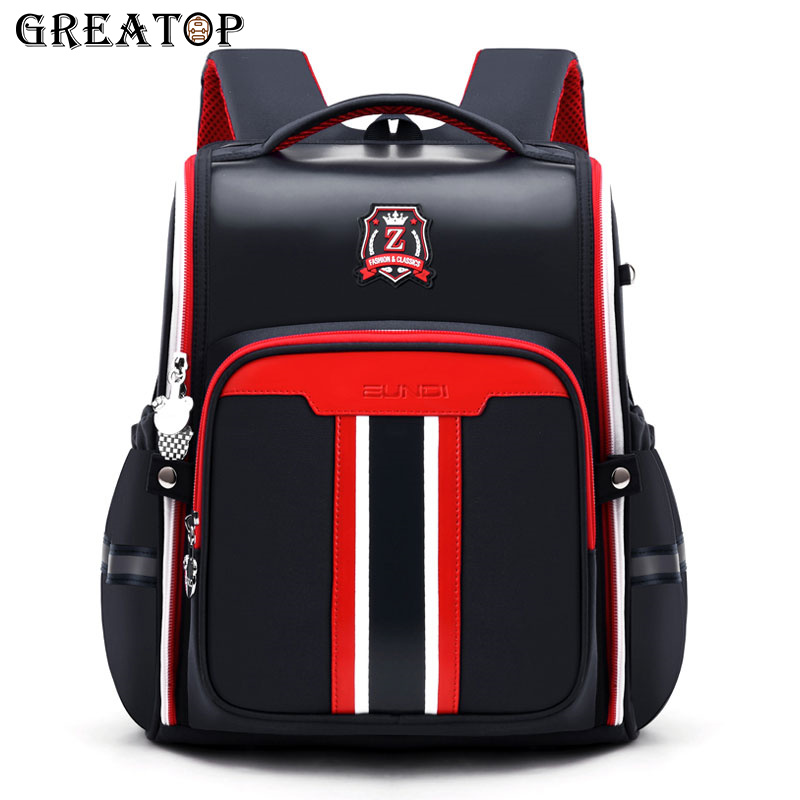 GREATOP Leather Children Schoolbags Fashion Design All Open Student Bags Large Capacity Waterproof Kids School Backpack