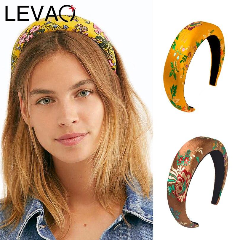 LEVAO Women Elegant Embroidered Hairband Sponge Padded Headbands Bezel Turban Girls Hair Accessories Headwear Hair Hoop Fashion