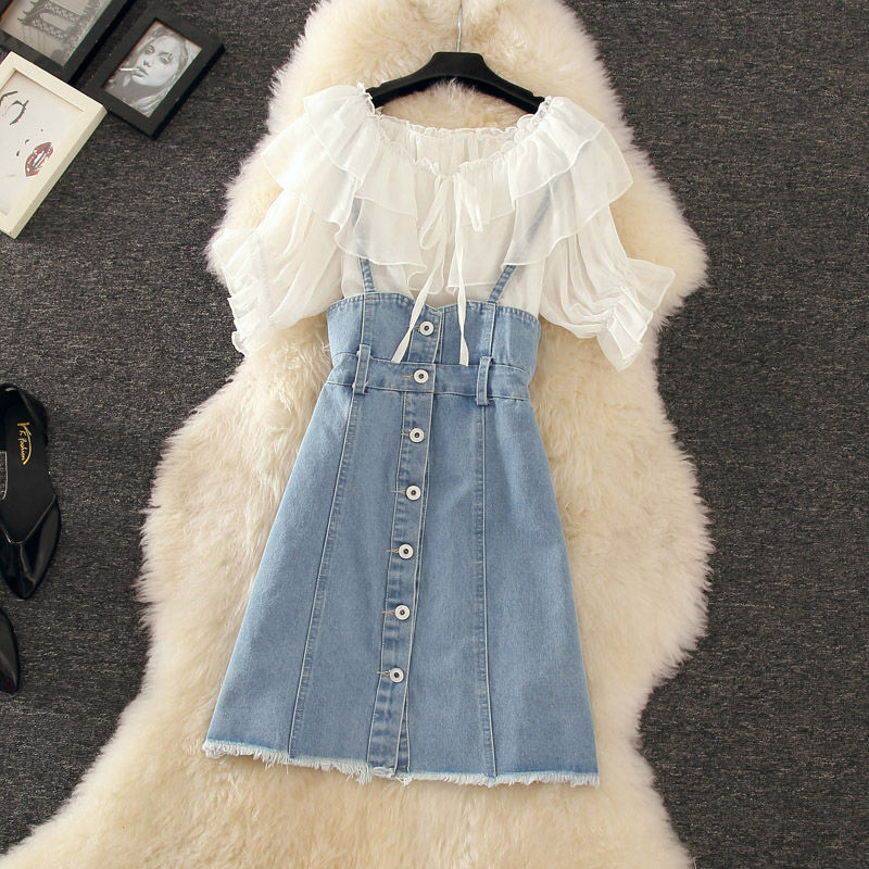 Fashion Chiffon Blouses + Denim Suspender Skirt Summer 2 Pieces Sets Women Casual Sweet Short Sleeve Tops And A Line Mini Skirts