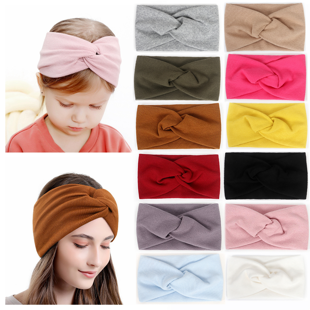 Baby Headband Mommy Set Twist Hairband Cotton For Women Girls Turban Spring Summer Head Wrap Mother Daughter Hair Accessories