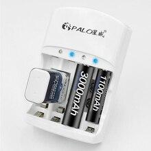 Hot sprzedaży 4 sloty ładowarka do 1.2V AA AAA 6F22 9V Li ion NI MH NI CD akumulatory wysokiej jakości wtyczka ue/usa