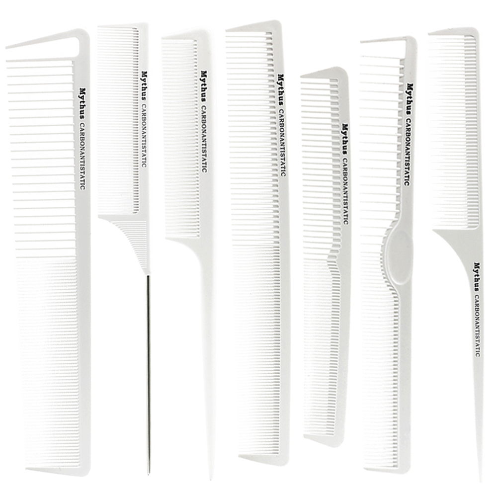 Pro Hairdresser Carbon Comb In White Color Popular Heat Resistant Hair Cutting Comb Set In 7 Designs Barber Favorite Comb Set