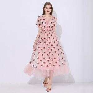 Strawberry Dress Puff-Sleeve Sequins Floral V-Neck Women Elegant Mid