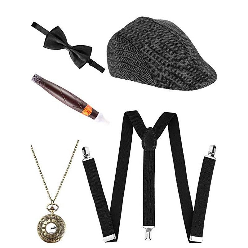 Мужской комплект аксессуаров для фотографий, Манхэттен, гангстер, берет, Y-образные подтяжки, 20s, 5 шт., 1920s