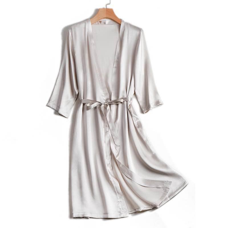 Hot Deals₧Silk Women Robes Champagne Satin Black 100%Natural Sleep-Wear Knee-Length White New BELTED