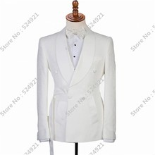 Groom Tuxedos Jacket Men Suits Wedding-2pieces Pants Satin White Double-Breasted Shawl