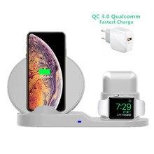 3 em 1 10w rápida estação doca carregador sem fio carregamento rápido para iphone xr xs max 8 para apple watch 3 4 5 para airpods para samsung