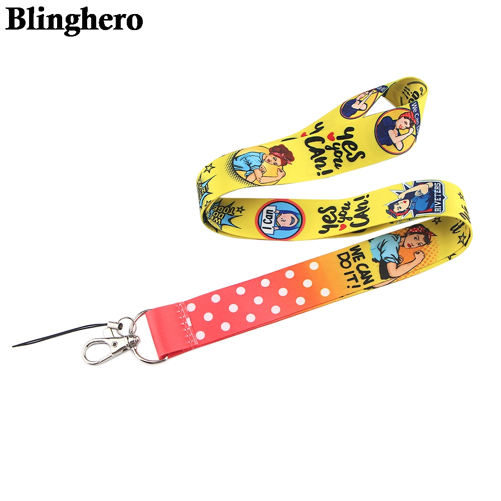 CA1513 We Can Do it Cartoon Feminism cellphone lanyard For key ID Card Gym USB badge holder DIY Hanging Rope Neck lanyards