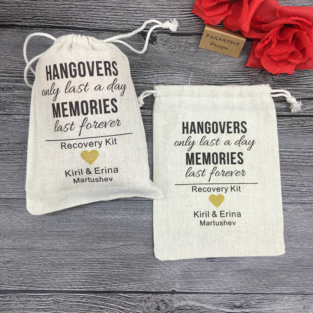 Personalized Text Wedding Bachelorette Last A Day Memories Hangover Survival Kits Jewelry Drawstring Gift Bags Candy Pouches