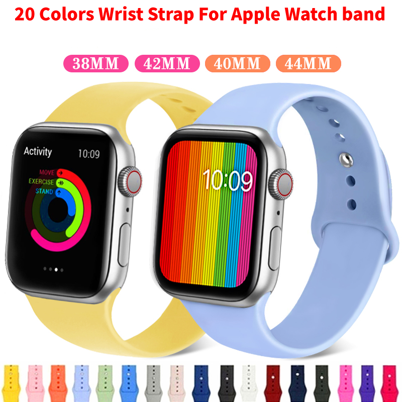 Dabruyne Soft Silicone Sport Band Strap For Apple Watch Series 4 3 2 1 42mm 38mm 40mm 44mm Wrist Bracelet Strap For Apple Watch