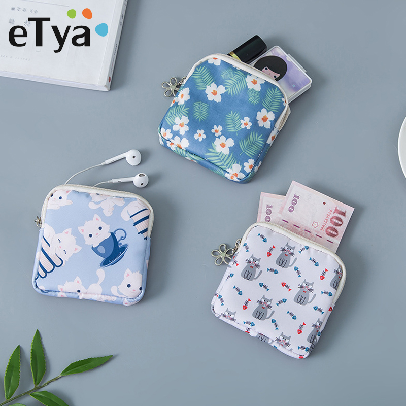 ETya Mini Women Cosmetic Bag Cute Floral Small Makeup Bags Toiletry Organizer Female Coin Card Storage Purse Make Up Case Bag