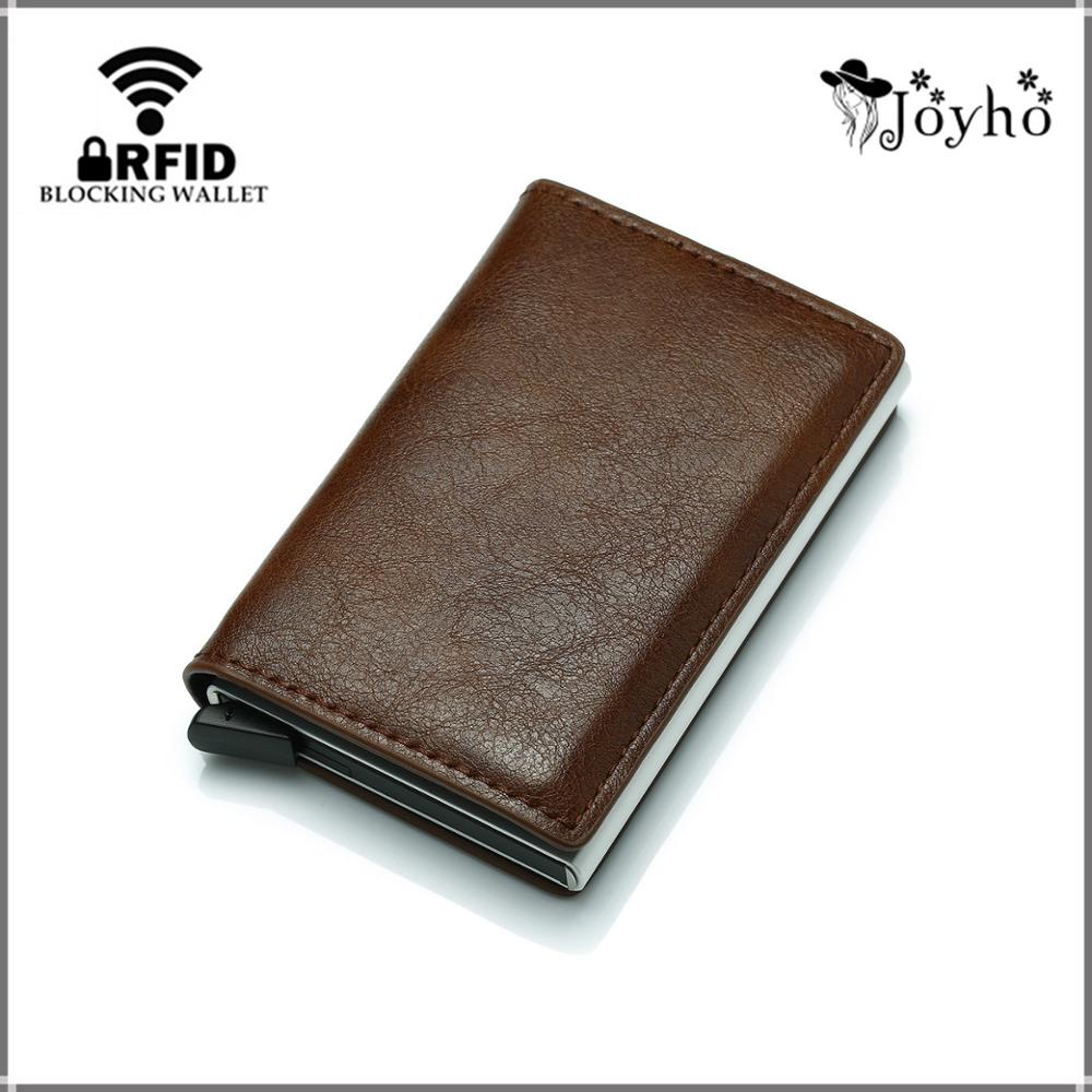 Men And Women Business Credit Card Holder Metal RFID Aluminium Box Crazy Horse Leather Travel Card Wallet Thin Smart Wallet title=