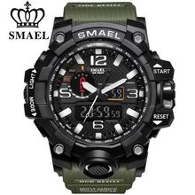 SMAEL-sportowy zegarek z podwójnym wyświetlaczem dla mężczyzn męski zegarek elektroniczny wyświetlacz LED wykonany z kwarcu wodoodporny wojskowy zegarek na rękę do pływania tanie tanio 22cm Podwójne wyświetlanie QUARTZ 3Bar Sprzączka CN (pochodzenie) Z tworzywa sztucznego 17mm Akrylowe Kwarcowe zegarki
