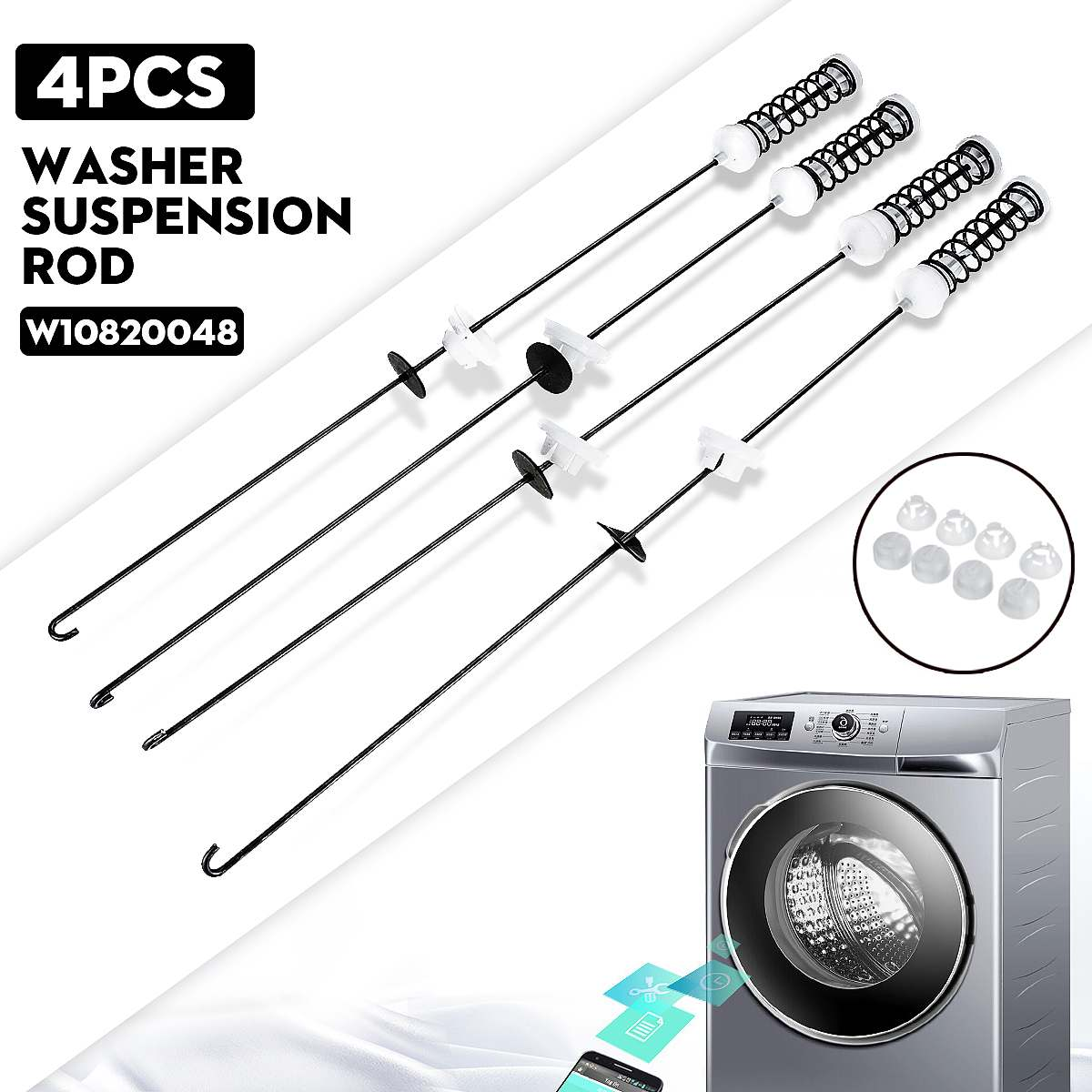 4Pcs Washing Machine Suspension Rods Tools Kit AP5971398 PS11703290 W10780048 For Whirlpool