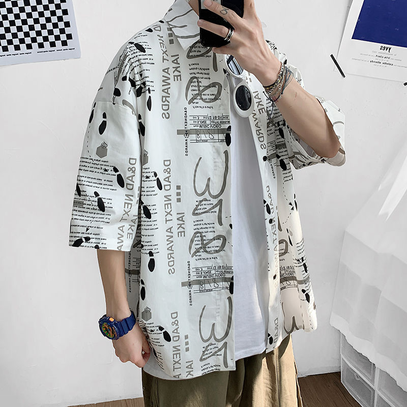 2020 Summer New Youth Popular Men's Korean Style Loose Large Size Printed Short-sleeved Shirt Fashion Casual Shirt Jacket