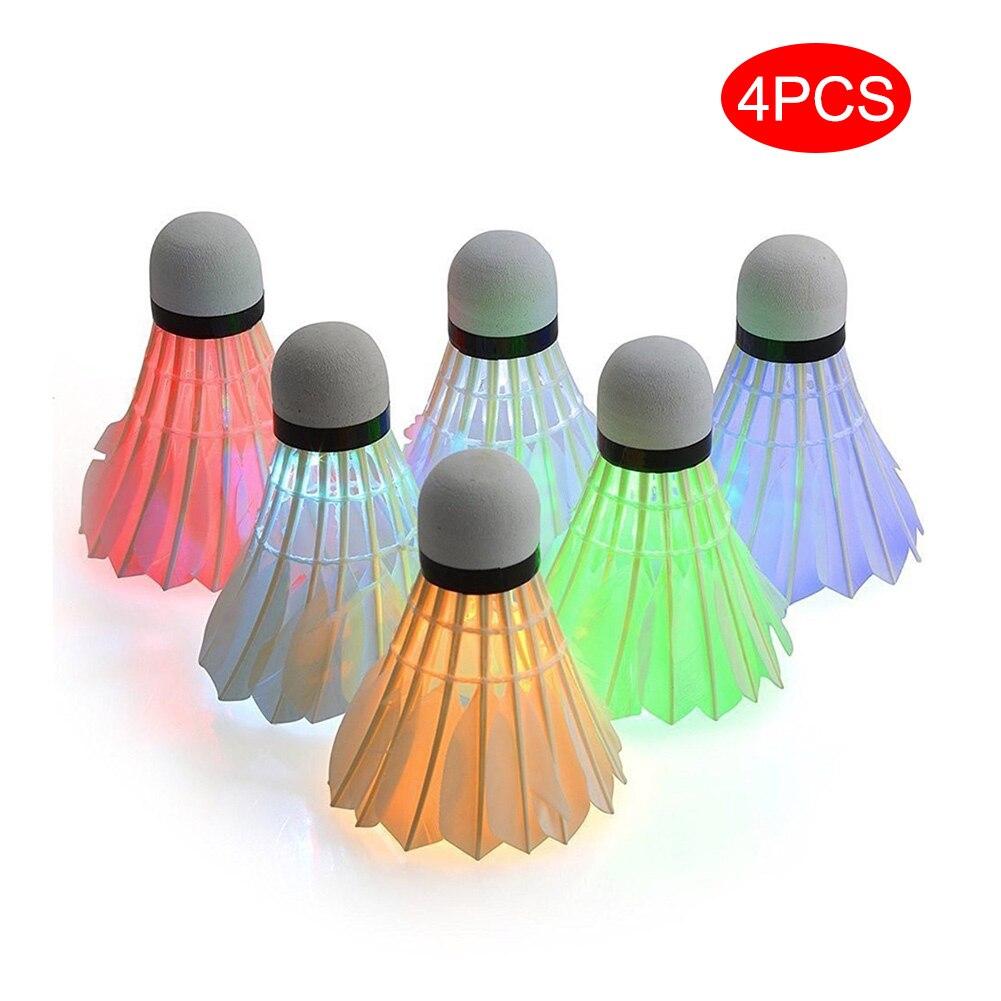 4 Pcs LED Badminton Shuttlecocks Lighting Birdies Shuttlecock Glowing Badminton For Outdoor Sports Family Entertainmet