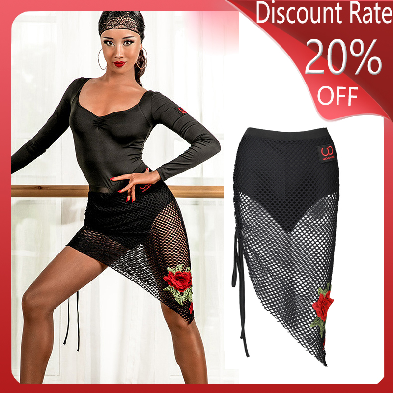 Latin Dance Skirt Autumn New Professional Training Drawstring Grid Flower Stickers Skirt Latin Dance Competition Dresses DQS337