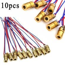 10 шт., 650 нм, 6 мм, 5 В, 5 мВт, красный точечный модуль лазерного диода, непрерывный выход с проводом 5 в постоянного тока, макс., как правило, произ...