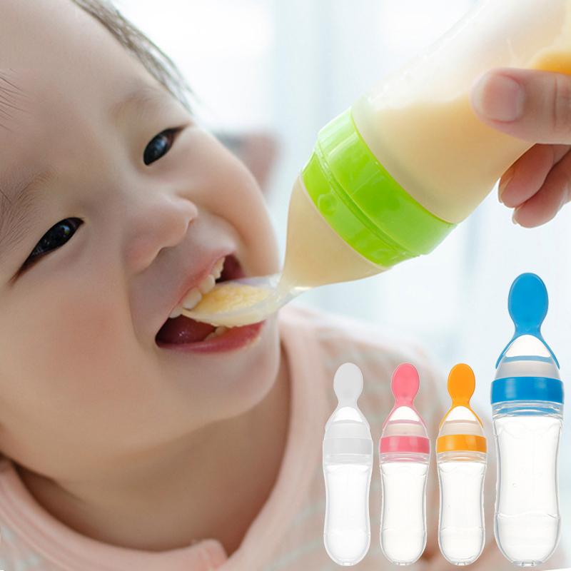 Baby Spoon Lovely Safety Infant Baby Silicone Feeding With Spoon Feeder Food Rice Cereal Bottle For Best Gift