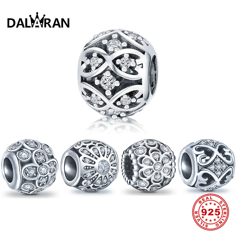 DALARAN Flower Openwork Charms 100% Real 925 Sterling Silver Beads Fit Charm Bracelet Necklace Jewelry For Making DIY Women Gift
