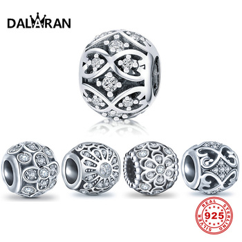 DALARAN Flower Openwork Charms 100% Real 925 Sterling Silver Beads Fit Charm Bracelet Necklace Jewelry For Making DIY Women Gift bisaer authentic 925 sterling silver openwork heart gift box charms fit for women 3mm bracelet and necklace fine jewelry gxc1029