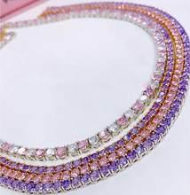 Vário colorido cz tênis gargantilha colar branco rosa roxo cor do ouro gelado para fora bling 5a 5mm zircônia cúbico tênis gargantilha