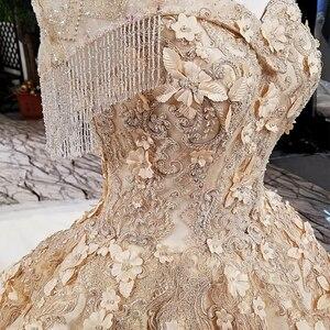 Image 5 - LS65411 1 큰 스커트 신부 가운 민소매 황금 샴페인 컬러 이브닝 드레스와 레이스 tain 중국 온라인 가게에서 직접 구매