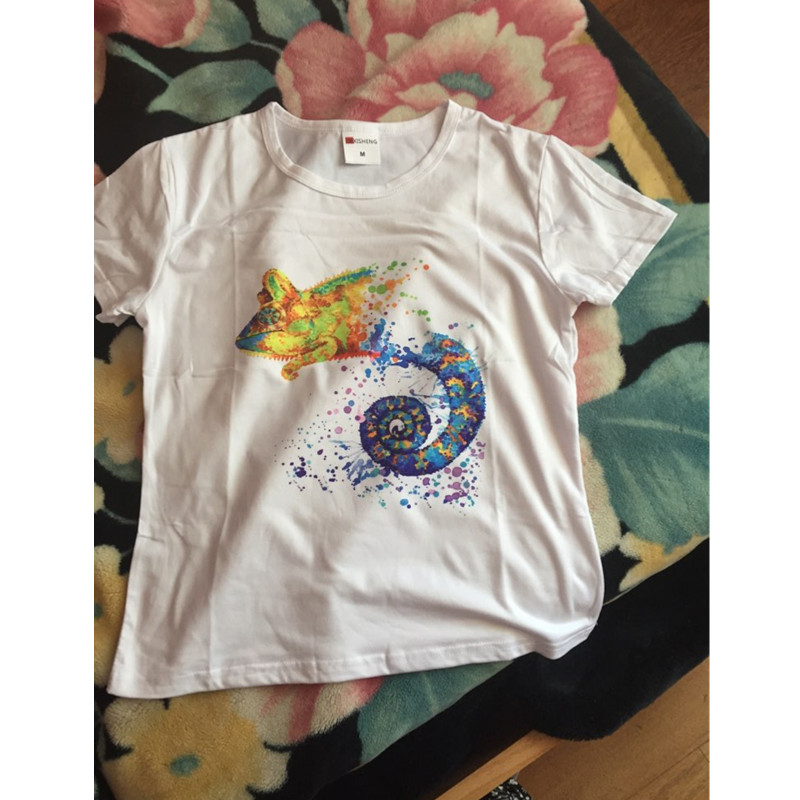 Womens Casual Tees Summer T shirt Psychedelic lizard printing Tops Short-sleeved O-neck T-shirt