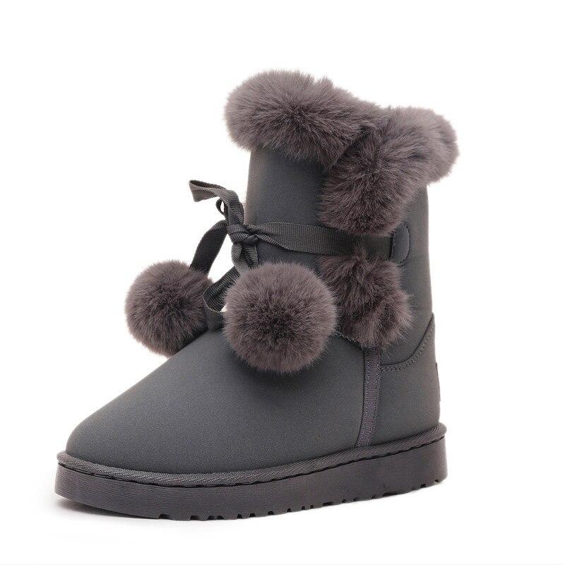 2019 hiver épais chaud femelle Tube boule de cheveux chaud femme coton chaussures bottes de neige