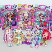 Original shopkinss mundo férias elf meninas bonecas moda compras meninas vestir-se modelo crianças jogar casa figura de ação brinquedos presente