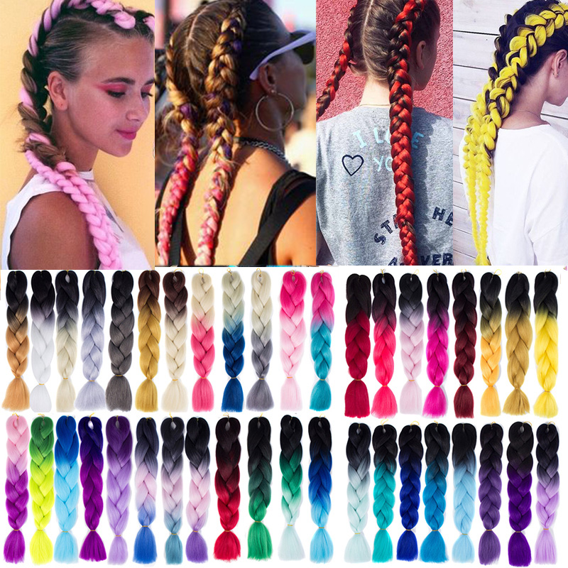 LUPU 24 Inches Black Purple Pink Jumbo Braid Kanekalon Ombre Crochet Braiding Hair Synthetic High Temperture Fiber For Women