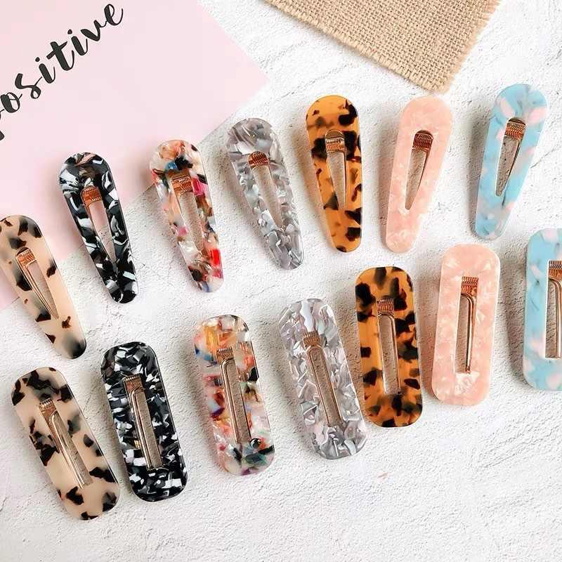 1Pcs Vintage Hollow Jepit Rambut untuk Wanita Leopard Marmer Bertekstur Geometris Air Drop Bebek Barrette Jepit Rambut Rambut Aksesoris