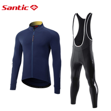 Santic Men's Cycling Jersey Suits Long Sleeve Thermal MTB Road Bike Bib Tights Winter