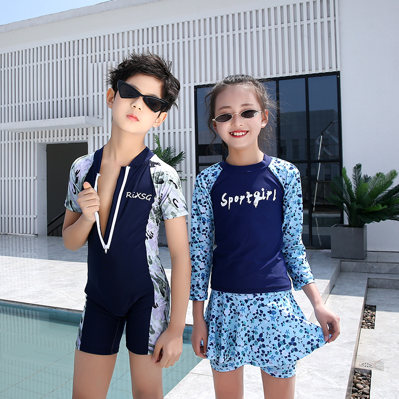 Korean-style Men And Women Children Cute Printed Skirt Two-Piece Swimming Suit Sports Long Sleeve Sun-resistant Jellyfish Clothi