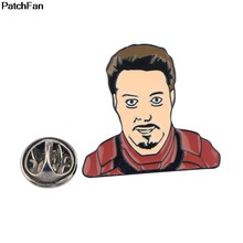 20pcs/lot A2442 Patchfan cosplay Iron Man Enamel Brooch Pins for Sweater Badge Gift Jewelry for men boy Kids Costume Gifts(China)